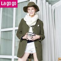 【每满200减100】lagogo新款纯色圆领修身中长款毛呢大衣女韩版秋冬装呢子外套