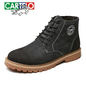 卡帝乐鳄鱼靴子男鞋冬季潮鞋新款高帮鞋加绒保暖户外休闲鞋板鞋男