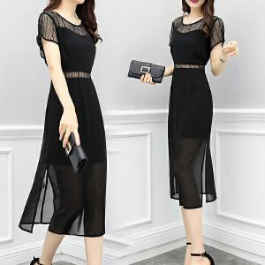 安妮纯雪纺连衣裙2018夏季新款女装时尚气质显瘦蕾丝拼接韩版黑色长裙子