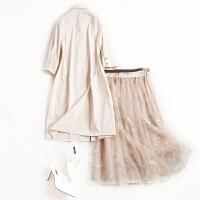 网纱连衣裙仙2018流行女装新款春装半身裙气质衬衫裙子两件套
