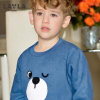 LAVLA童装 男宝宝加绒长袖T恤春秋款儿童加厚卫衣打底上衣