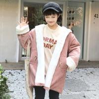 加厚灯芯绒棉衣女冬装新款韩版学院风百搭宽松连帽中长款外套