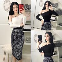 2018秋季新款韩版时尚气质夜店性感女装罗纹拉架斜肩修身T恤上衣