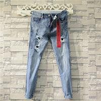 日系破洞牛仔裤男士修身浅色青少年韩版潮流新款小脚裤个性裤