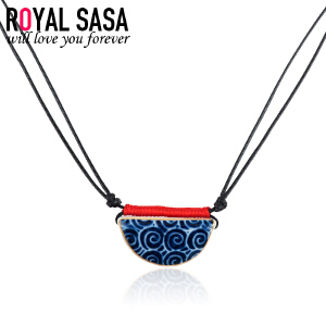 皇家莎莎Royalsasa陶瓷饰品 设计时尚中国风复古文艺陶瓷项链吊坠个性挂饰07SP274