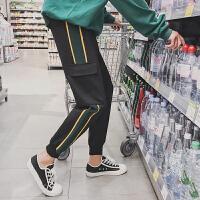 新款秋季男士休闲裤长裤韩版潮流收口运动裤多口袋宽松嘻哈裤子束