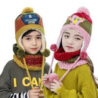 【3件85折:66.3】kk树儿童帽子围巾套装男女童一体宝宝帽子秋冬保暖围脖套装加绒潮