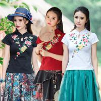 中国风文艺复古民国女装上衣夏装民族风唐装旗袍刺绣短袖T恤