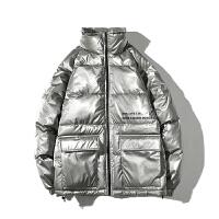 冬装亮面休闲面包服炫酷发光保暖棉服男士潮流学生棉衣立领bf外套