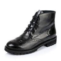 Tata/他她专柜同款油蜡牛皮女短靴V3181CD5