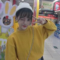 秋冬女装韩国ulzzang韩版学生小高领宽松套头长袖卫衣上衣外套潮