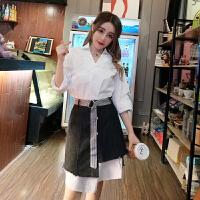 女装2018春新款韩版小清新高腰修身A字牛仔半裙白色长衬衣套装
