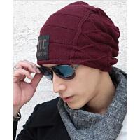 男士冬天冬季韩 保暖套头帽护耳帽子版潮户外针织帽毛线帽加绒加厚