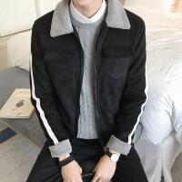 2018冬季新款外套男加绒加厚修身羊羔毛棉衣上衣男装加厚夹克