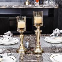 欧式创意浪漫家居软装饰品摆件复古烛台水晶玻璃美式北欧客厅餐厅