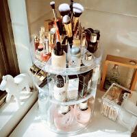 桌面护肤品梳妆台黑色口红整理置物架透明亚克力旋转化妆品收纳盒 透明 透明旋转007