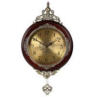 豪华欧式挂钟客厅实木摆钟创意艺术壁挂钟表田园静音复古装饰时钟 金属面A款 棕色