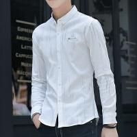 新款2018男士长袖男士个性长袖衬衫弹力衬衫男长袖衬衣纯色白潮流