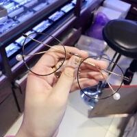 新款珍珠精选金属眼镜框女 复古圆框眼镜架可配近视眼镜男潮