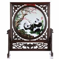 蜀绣双面绣熊猫 家居摆件手工刺绣 屏风摆件四川礼品
