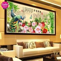 手工十字绣成品花开富贵竹子图孔雀牡丹花客厅大幅