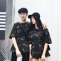情侣装夏装2018新款韩版学生迷彩ulzzang短袖T恤宽松女韩范上衣潮 军绿色