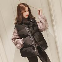 慈姑棉马甲女秋冬2018学院风新款韩版短款加厚坎肩背心面包服外套