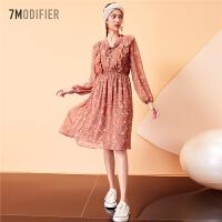 【3折到手价:95】早新款韩版连衣裙7m收腰小碎花长袖气质宽松仙女中长款裙子