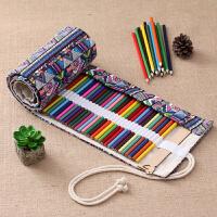 中国民族风笔帘卷学生美术彩铅水彩笔收纳袋 多孔笔袋