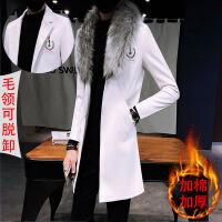 秋冬季ins防风衣男士韩版修身中长款过膝外套英伦风休闲皮衣男潮
