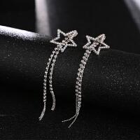 超仙彩钻五角星长流苏耳环925银针耳钉像素森系耳饰女士