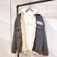 冬季棉衣男士夹克青少年韩版潮流修身加绒加厚格子羊羔毛男外套潮