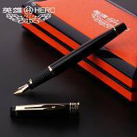 HERO英雄307系列英雄笔练字钢笔签字笔 黑色漆杆镀金 宝珠笔/钢笔