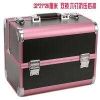 美睫工具箱手提美容美甲化妆箱多层大容量美睫师专用箱子 粉色+黑色防火板 32*21*26厘米
