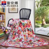 富安娜家纺 家居用品毛毯 简约舒适印花多功能法兰绒毯子180*200CM