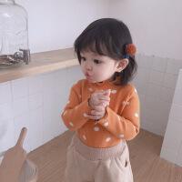 女童秋冬季波点高领针织衫打底衫儿童女孩修身毛线衫上衣