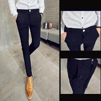 新款黑色休闲裤男士长裤弹力小脚裤个性烫修身英伦西裤男装裤子