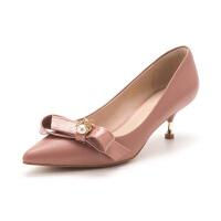 迪芙斯(D:FUSE)女鞋 2019春季专柜同款羊皮革蝴蝶结尖头细跟单鞋DF91111113