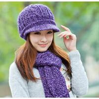 女冬天韩版时尚保暖羊毛针织帽可爱毛线帽围巾两件套装