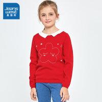 [限时抢:56元,真维斯周末狂欢仅限10.12-14]真维斯女童2019秋装新款 娃娃领长袖毛线衫