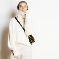 毛衣女秋冬高领羊绒衫加厚套头宽松慵懒针织长袖打底毛衫