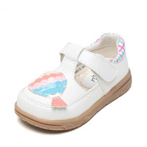 shoebox鞋柜女童单鞋不对称图案搭攀可爱公主单鞋女孩小皮鞋