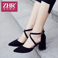 ZHR2018夏季新款韩版凉鞋粗跟罗马鞋包头高跟鞋学生女鞋百搭鞋子F95