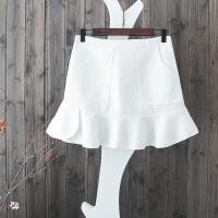 C5春装韩版学院风甜美显瘦荷叶边格子半身裙蕾丝包臀裙百搭短裙