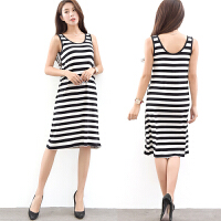 无袖黑白条纹连衣裙女夏季2017新款韩版宽松背心裙女夏中长款