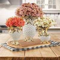 欧式陶瓷创意大花瓶奢华装饰品 客厅落地电视柜餐桌摆件结婚礼物