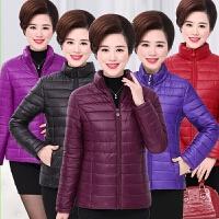 妈妈装冬装轻薄短款羽绒服外套中年30岁40小棉衣中老年女装棉袄50
