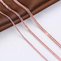 加粗长款18k玫瑰金色毛衣链肖邦链子s925纯银项链男女士裸链单链
