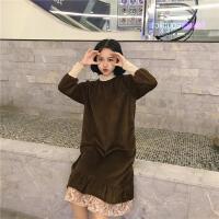 慈姑秋冬女装韩版气质中长款蕾丝拼接打底裙金丝绒宽松加厚长袖连衣裙 均码