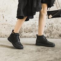 玛菲玛图马丁靴女英伦风女鞋秋冬2020新款系带学生短靴女平底加绒真皮鞋子009-20SA